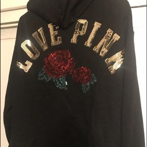 VS Pink Rose sequins bling hoodie 🥀 Medium